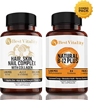 BestVitality - Vegan Safe All Natural Energy And Beauty Complex Bundle! 100% Natural Hair, Skin, Nails Vitamins And B Complex. Two of Our Best Selling Products for the Price of One - Made in USA