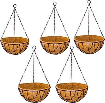 Sparkenzy Coir Hanging Basket | 10 inch | 5 Piece | Rust Resistant | Thick Finest Coir Fiber