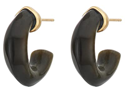 Kendra Scott Mikki Huggie Earrings (Vintage Gold Golden Obsidian) Earring
