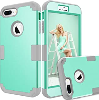 "iPhone 8 Plus Case, iPhone 7 Plus Case, KAMII [Heavy Duty] Drop-Protection Hard PC Soft Silicone Combo Hybrid Impact Defender Full-Body Protective Case for iPhone 8 Plus / 7 Plus 5.5"" (Aqua+Grey)"