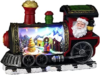 Lightahead Musical Christmas Turning Tree Scene Figurine Santa in Locomotive Train with Colorful LED Light with 8 Melodies (Style 1)