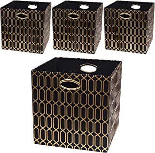 Posprica Foldable Storage Bins - 13x13 Fabric Storage Cube Basket Boxes Containers Drawers (4pcs, Black)