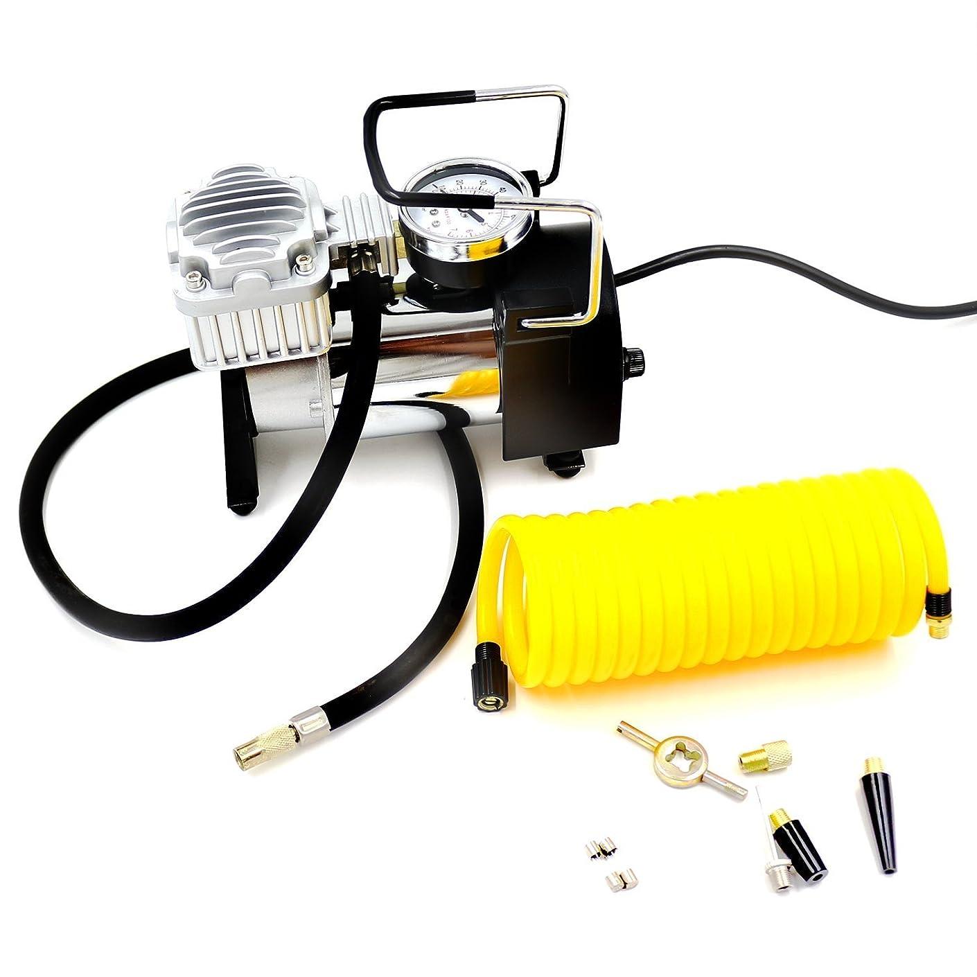 クランプ水陸両用老人AC 100V 電源 家庭用 電動エアーポンプ エアポンプ 空気入れ ポンプ エアーコンプレッサー 多用途 100PSI (3種ノズル/エアホース(3m)付属)
