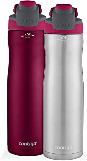 Contigo AUTOSEAL Chill Stainless Steel Water Bottles, 24 oz, SS/Very Berry & Very Berry, 2-Pack