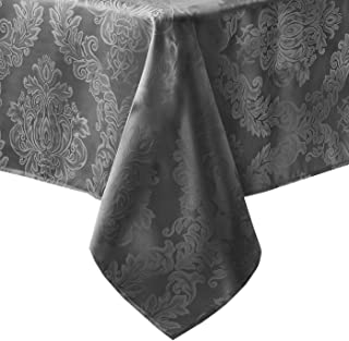 Newbridge Barcelona Luxury Damask Fabric Tablecloth, 100% Polyester, No Iron, Soil Resistant Holiday Tablecloth, 60 Inch x 84 Inch Oblong/Rectangle, Gray