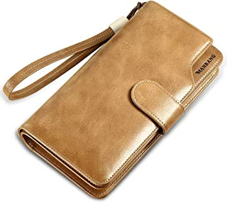 Men's Genuine Leather long Bifold Wallet Extra Capacity Button Zipper