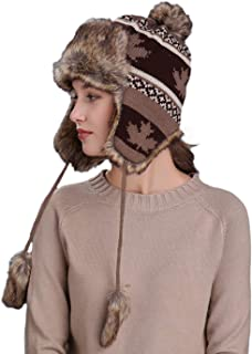 Womens Girls Earflap Hat Faux Fur Knit Hat Warm Snow Ski Trapper Hat