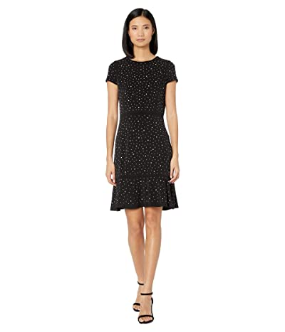 MICHAEL Michael Kors Flower Hem Top Flounce Dress (Black) Women