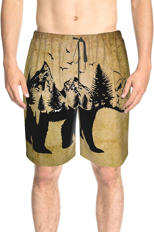 JINJUELS Mens Bathing Suits Bear with A Forest Beachwear Board Shorts Drawstring Elastic Beach Swim Trunk with Lining
