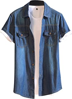 PrettyChic Mens Short Sleeve Denim Casual Cotton Casual Cotton Shirts