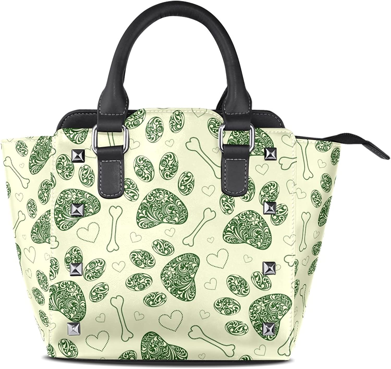 Sunlome Cute Cat Dog Floral Paws Footprints Print Handbags Women's PU Leather Top-Handle Shoulder Bags
