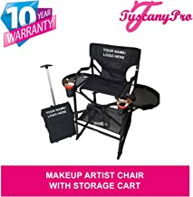 TuscanyPro Portable Makeup Artist Chair with Storage Cart - Perfect for Makeup, Salons, Movie Sets - Italian Design - 10 Years Warranty - US Patented - 29 Inch Seat Height