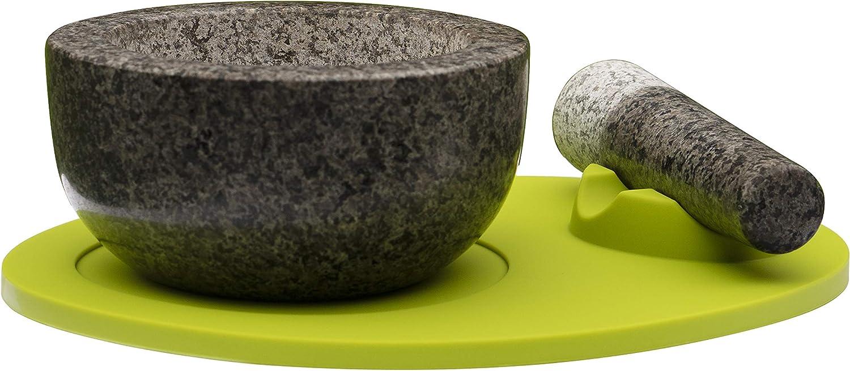 The Blaubell Company® Stößel und Mörser aus Granit mit Silikon-Pad. Erhältlich in grau, lilat oder limettengrün. lindgrün B07J1FZTK9