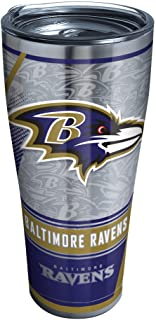 Tervis NFL Baltimore Ravens Edge Stainless Steel Tumbler with Clear and Black Hammer Lid 30oz, Silver