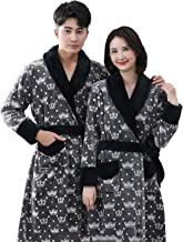 Men's and Women's Autumn and Winter Mid-length Printed Flannel Bathrobes | Warm Thicken Home Couple Nightwear with Belt(Si...