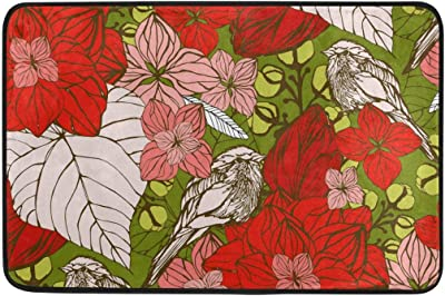 Red Floral and Birds Doormat, Entry Way Indoor Outdoor Door Rug with Non Slip Backing, (23.6 x 15.7-Inch)