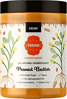 9GRAMS Natural Peanut Butter, 9g protein, Slow Roasted & Stone crushed , Vegan & Keto friendly (Creamy, 1Kg)