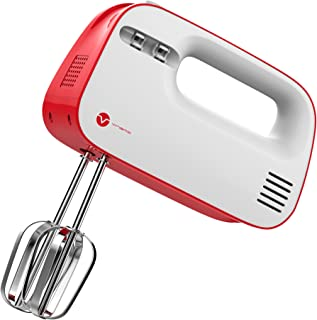 Vremi 3-Speed Compact Hand Mixer with Clever Built-In Beater Storage - Handheld Egg Beater with Stainless Steel Blades - Heavy Duty Mini Small Kitchen Mixing Machine - Red and White
