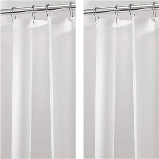 Blonder Home Shower Curtain-Stripe//Shower Hooks Blue//Black//Off White