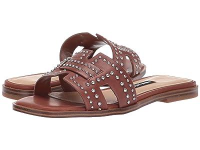 Nine West Genesia Studded Slide Sandal (Dark Brown) Women