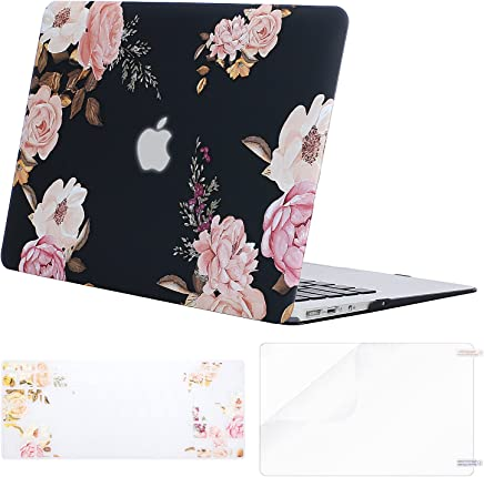 MOSISO MacBook Air 13 Case (A1369 & A1466, Release 2010-2017 Older Version), Plastic Flower Pattern Hard Shell&Keyboard Cover&Screen Protector Only Compatible MacBook Air 13 Inch, Peony Blossom