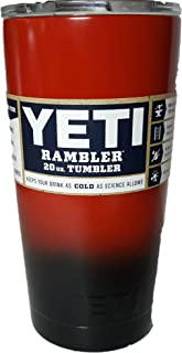 Yeti Rambler Tumbler 20-ounce, Stainless Steel, with Lid, Custom Colors (Red/Black)