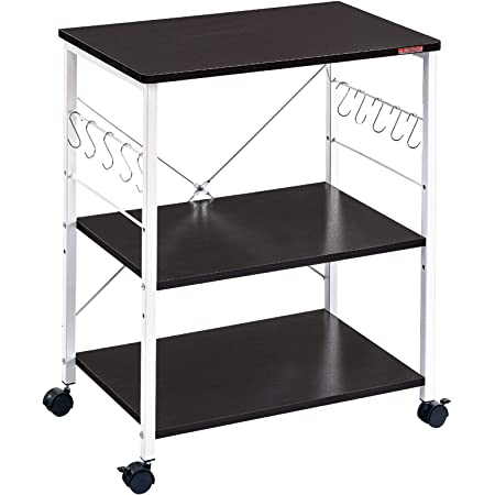 3 Tier Kitchen Rack Microwave Oven Stand Storage Cart Shelf Shelves W//Hooks