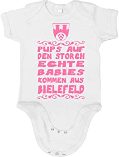 Artdiktat Baby Mädchen Organic Bodysuit - Strampler - Pups auf den Storch - Echte Babies kommen aus Bielefeld