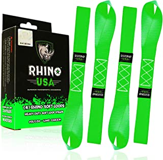 RHINO USA Soft Loop Motorcycle Tie Down Straps - Guaranteed 10,427lb Max Break Strength, Heavy Duty Tiedown Loops for Secure and Confident Trailering of Motorcycles, Dirtbikes, ATV, UTV (Green 4-Pack)