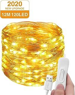 Luces Navidad USB 12M 120 LED, Litogo Guirnaldas Luces LED luces decorativas habitacion Impermeable cadena de luces Decorativas para Habitacion Arbol Navidad Interior y Exterior, Boda, Fiesta, Balcón
