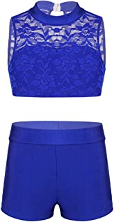 TiaoBug Kids Girls 2PCS Athletic Outfit Floral Lace Tank Top with Shorts Set for Gymnastics Leotard Dancing or Swimming