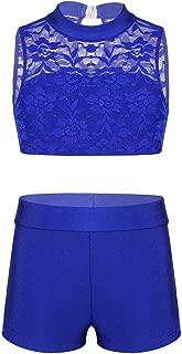 TiaoBug Kids Girls Basic 2 Piece Active Dancewear Outfit Floral Lace Crop Top and Shorts Set for Gymnastics Dancing Workout