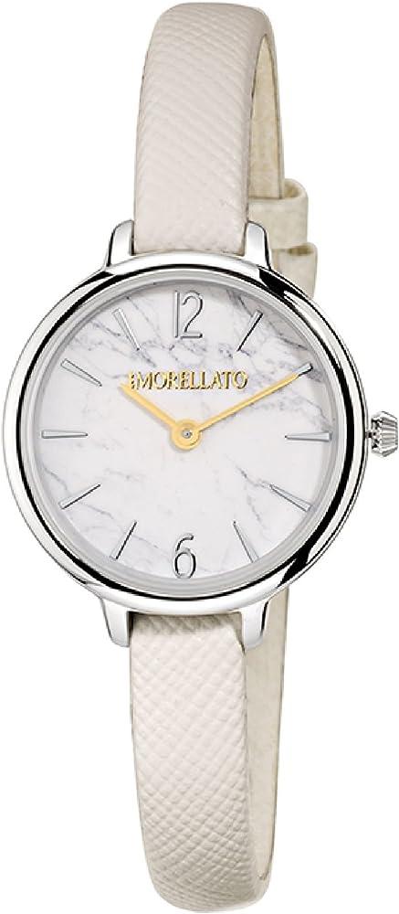 Morellato, orologio analogico al quarzo per donna, con cinturino in pelle e cassa in acciaio R0151140513