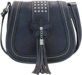 Women Leather Crossbody Shoulder Bag Tassel Flower Satchel Saddle Bag Handbag