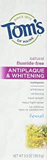 Tom's of Maine Natural Fluoride-Free Antiplaque & Whitening Toothpaste, Fennel 5.50 oz