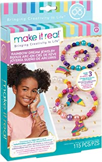 Make It Real - Rainbow Dream Jewelry. DIY Charm Bracelet Making Kit for Girls. Arts and Crafts Kit to Design and Create Unique Tween Charm Bracelets and a Ring with Elastic Cord and Gold Beads