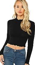 Floerns Women's Lettuce Trim Shirt Slim Fitted Long Sleeve Crop Tee Tops