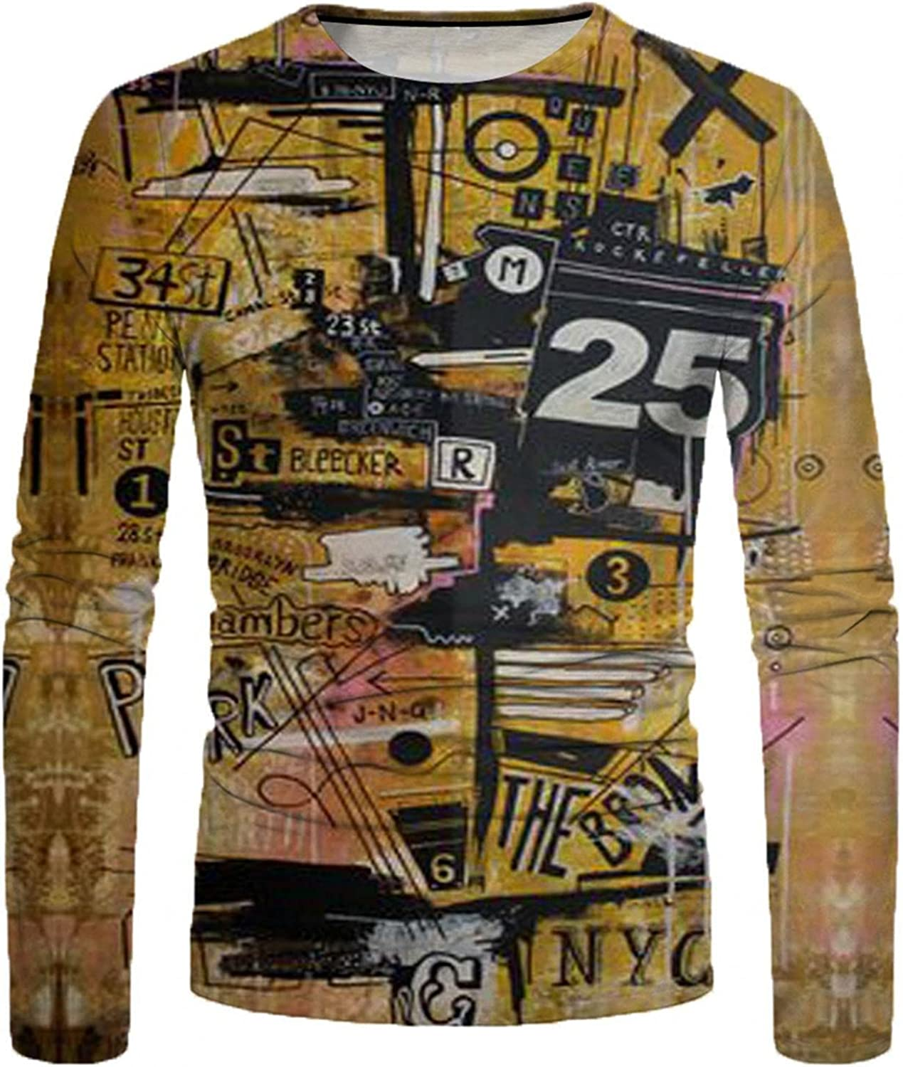 Men T-Shirts 3D Painting Abstract Printed Tee Crewneck Long Sleeve Tops Casual Workout Sport Men's T Shirts