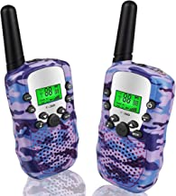 Gifts for 5-10 Year Old Girls Pussan Walkie Talkies for Girls 2 Miles Long Range T388 Walky Talky Kids Outdoor Toys Christmas Birthday Gifts Camo Purple