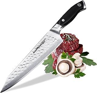 Godmorn Cuchillo Damasco, Cuchillo de Chef, Cuchillo de Cocina Profesional de Acero Inoxidable Japonés de 8 Pulgadas, Mango G10, Cuchillo de Damasco, Regalo Ideal con Caja de Regalo Magnética