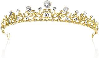 SWEETV Frizzante Cristallo Principessa Tiara Spettacolo Matrimonio Corona Capelli Accessori Della Sposa, Oro