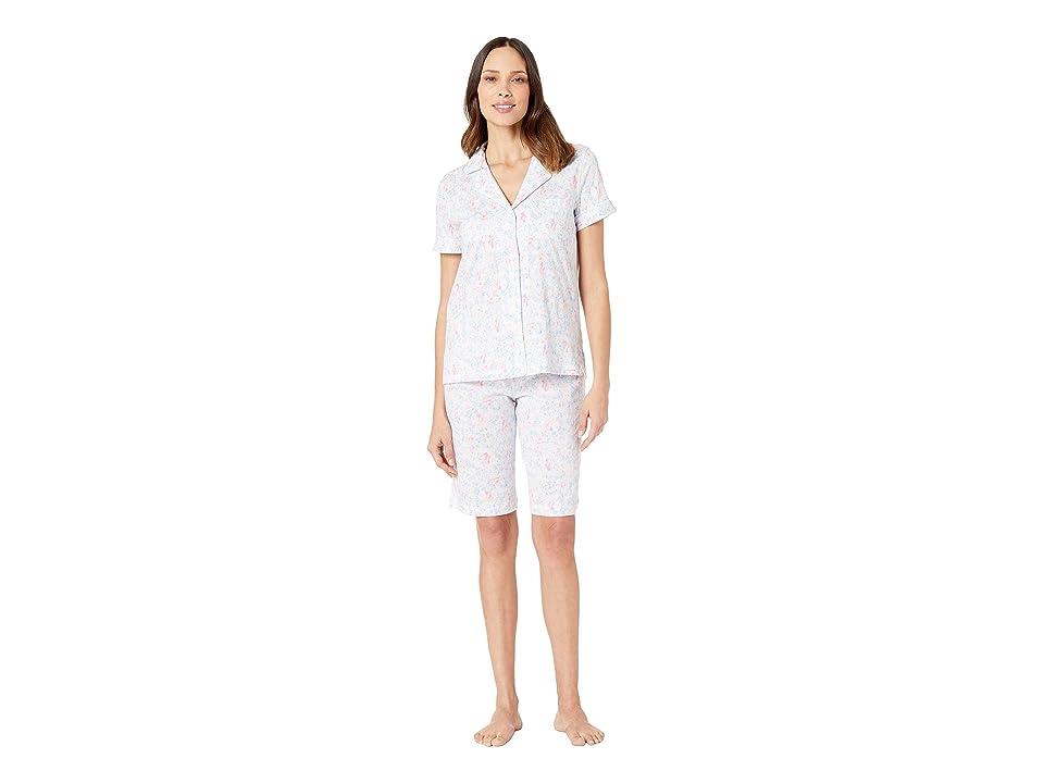 LAUREN Ralph Lauren Short Sleeve Notch Collar Bermuda Pajama Set (Pink Floral) Women