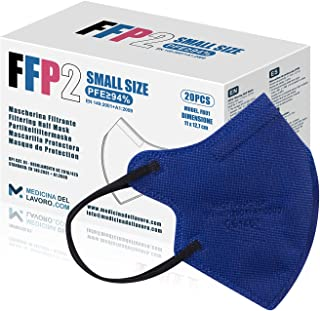 20 FFP2/KN95 Maske Blau CE Zertifiziert Kleine Größe Small, Medizinische Mask mit 4 Lagige Masken ohne Ventil, Staub- und ...