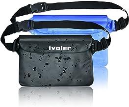 iVoler [2 Unidades] Riñonera Impermeable Universal con Correa de Cintura, Bolsa Estanca para Playa, Floating, Rafting, Kayak, Senderismo, Pesca, Escalada, Camping, etc. (Negro+Azul)