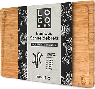 Loco Bird planche à découper en bambou massif avec rainure à jus - planche à découper bois de 44,8x30x2 cm - planche en bo...