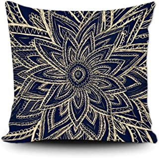 SVITFAMLI Throw Pillow Cover Modern Navy Blue Abstract Floral Illustration Decorative Cushion Case Vintage Home Decor Squa...