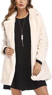 460fcdde85c Remelon Womens Long Sleeve Winter Warm Lapel Fox Faux Fur Coat Jacket  Overcoat Outwear with Pockets