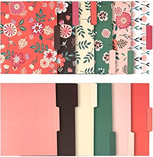 Decorative File Folders - 12-Count Colored File Folders Letter Size, 1/3-Cut Tabs, Includes 6 Cute Floral Designs and 6 Solid Colors, File Filing Organizers, 9.5 x 11.5 Inches