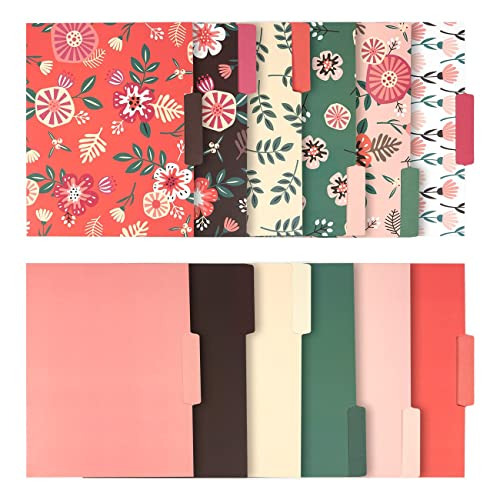 Juvale Decorative File Folders with Floral Designs, Letter Size (9.5 x 11.5 Inches, 12-Pack)