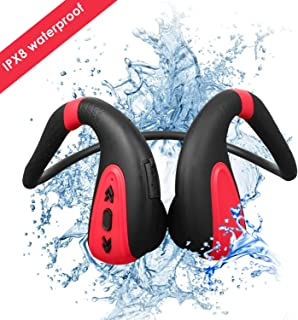heypower Bone Conduction Headset 8G MP3 Player Waterproof Swimming Outdoor Sport Earphones USB MP3 Music Players (Black red)